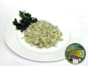 Kapusta biała, por, dodatki iprzyprawy słodko kwaśna – kompozycja białych części warzyw osłodko-kwaśnym smaku zwyraźnie wyczuwalnym aromatem pora.