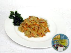 Sauerkraut, Möhren, Porree, Apfel, Petersiliengrün, Zusatzstoffe und Gewürze sauer – charakteristischer Geschmack und Aroma von Sauerkraut