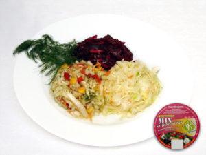 Rote Bete, Mexikanischer Salat, Frühlingssalat Weißkohl, Möhren, Sellerie, Porree, Apfel, Mais, Rote Beete, Zwiebel, Petersiliengrün, Zusatzstoffe und Gewürze